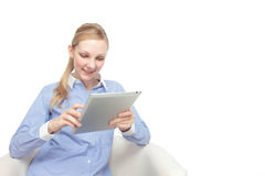 Women see the tablet Stock Image