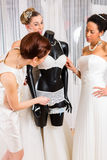 Women selecting bridal lingerie in wedding shop Royalty Free Stock Images