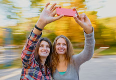 Women selfie in autumn Royalty Free Stock Images