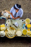 Women selling butter and cheese at the bazaar Stock Photography