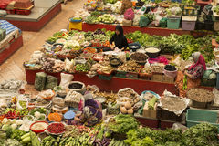 Women selling in the covered vegetables market, Malaysia Stock Photos