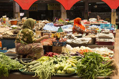 Women selling in the covered vegetables market, Malaysia Stock Image