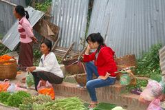 Women are selling fruits and vegetables at the famous morning market, Luang Prabang, Laos Stock Photo
