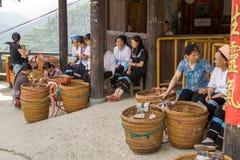 Women selling goods in Longji Yao village. China stock photo