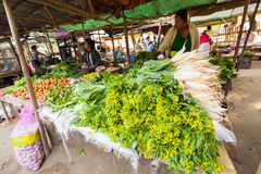 Women selling greengrocery at asian market. Bagan, Myanmar Royalty Free Stock Photography