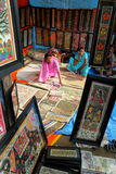 Women selling handicraft paintings in India Royalty Free Stock Photos
