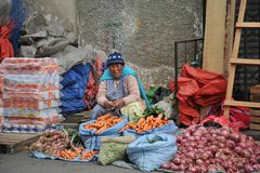 Free Women Selling On The Street Of La Paz. Royalty Free Stock Image - 42379536