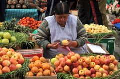 Free Women Selling On The Street Of La Paz. Royalty Free Stock Photo - 43448575