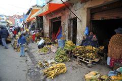 Women selling on the street of La Paz. Royalty Free Stock Image