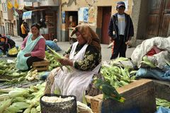 Women selling on the street of La Paz. Royalty Free Stock Photo