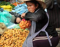 Women selling on the street of La Paz Royalty Free Stock Photo