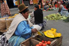 Women selling on the street of La Paz. Stock Image