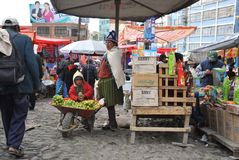 Women selling on the street of La Paz. Stock Images