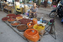 Women sells  hot chills and curry's. Market life Burma hot chills and curry's Stock Photo