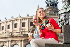 Women at Semper opera in Dresden Stock Photo