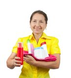 Women senior having hold of toiletries Stock Image