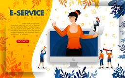 Women serve customers with digital service technology. e-service to service online startup businesses, concept vector ilustration. Can use for, landing page vector illustration