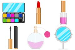 Women set of makeup, eye shadow, lipstick, nail polish, mascara for the eyes. Stock Photography