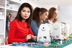Women in a sewing workshop Royalty Free Stock Images