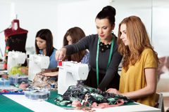 Women in a sewing workshop. Group of women in a sewing workshop Royalty Free Stock Photography