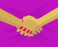 Women shaking hands with each other. Two female hand shaking hands with each other Royalty Free Stock Image