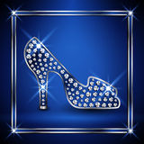 Women shoe decorated with jewels. Royalty Free Stock Images