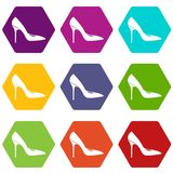 Women shoe with high heels icon set color hexahedron Royalty Free Stock Photography