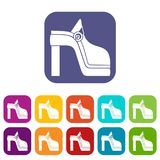 Women shoe icons set. Vector illustration in flat style in colors red, blue, green, and other Royalty Free Stock Photos