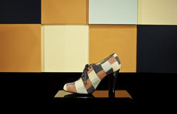 Women shoe made of leather and fabric Royalty Free Stock Photography