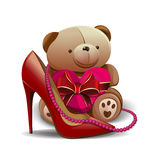 Women shoe, pink beads, teddy bear with a red heart. Design elements for birthday, 8 March, Mothers Day, Valentines Day. Women shoe, pink beads, teddy bear Royalty Free Stock Photo