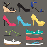 Women shoe types Royalty Free Stock Photography