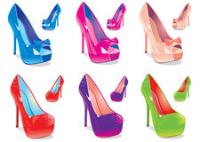 Women shoes. Vector illustration, a set of women's shoes in different colors Stock Images