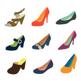 Women shoes. Silhouettes isolated on white background Royalty Free Stock Photography