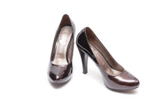 Women shoes. Dark red women shoes isolated on white background Stock Image