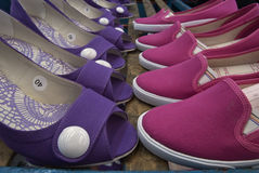 Women shoes. Aligned women shoes at factory Stock Photography