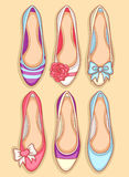 Women shoes. Beautiful seamless pattern with womens shoes Royalty Free Stock Photos