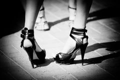 Women shoes in black and white color Stock Photography