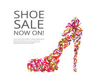 Women shoes. Fashion poster of women multi color shoes on white background. Text outlined Vector Illustration