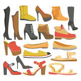 Women shoes or female footwear boots types vector flat isolated icons set Stock Photos