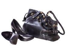 Women shoes and handbag Stock Photos
