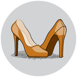 Women Shoes Illustration, Flat Inked Vector Royalty Free Stock Photography