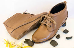 Women shoes. Made of leather, with laces and very comfortable Royalty Free Stock Image