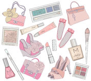 Women shoes, makeup and bags element set. royalty free illustration