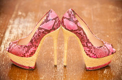 Women shoes pink high heels. Royalty Free Stock Images