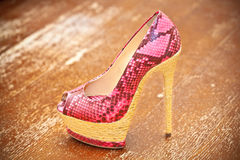 Women shoes pink high heels Royalty Free Stock Images