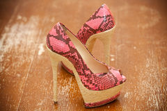 Women shoes pink high heels. Stylized snake skin Stock Photo