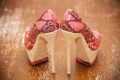 Women shoes pink high heels. Stylized snake skin Stock Photography