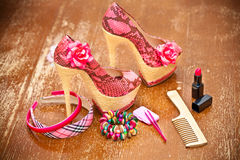 Women shoes pink. women's accessories. Royalty Free Stock Photography