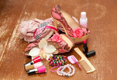 Women shoes pink. women's accessories Royalty Free Stock Image