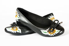 Women shoes with printed flower Royalty Free Stock Image